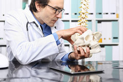 Doctor loco con el cráneo en oficina imágenes de archivo libres de regalías