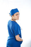Doctor looking backwards Royalty Free Stock Photo