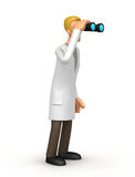 Doctor looking through binoculars. Illustration of an abstract character on a white background for use in presentations, etc Royalty Free Stock Photography
