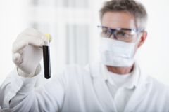 Doctor looking on blood test tube Stock Images