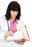 Doctor looking at medical file Stock Photography