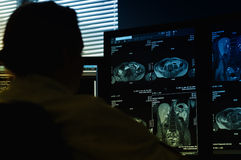 Doctor looking at MRI scan. Specialist doctor working at laboratory computer looking at MRI scan Royalty Free Stock Photos