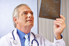Doctor looking at x-ray image in office Royalty Free Stock Photos