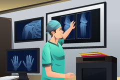 Doctor Looking at X-ray. A vector illustration of doctor looking at x-ray on lightbox Stock Images