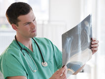Doctor Looking at X-rays Royalty Free Stock Images