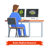 Doctor looking at results of MRI brain scan. On a computer screens. Medical research and diagnosis. Flat vector illustration stock illustration