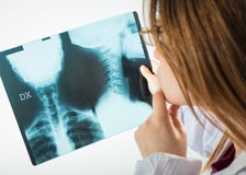 doctor looks at x-rays Royalty Free Stock Photo