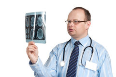 The doctor looks on tomography of the brain Royalty Free Stock Image