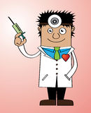 Doctor of love. Represent a doctor holding a syringe with heart shape pin on his cloth Stock Images