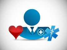 Doctor and love heart. isolated illustration. Design graphic Stock Photography