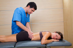 Doctor lumbar exploration on woman patient Stock Image
