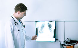 Doctor at lung X-ray Royalty Free Stock Image
