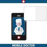 Doctor móvil con la nube vacía del diálogo Imagen de archivo