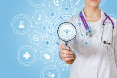 A doctor with a magnifier and a gynecology structure system royalty free stock image