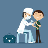 Doctor makes vaccination. Doctor making vaccination to the patient Royalty Free Stock Photo