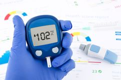 Doctor making blood sugar test Royalty Free Stock Photos