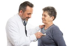 Doctor making medical examination to patient royalty free stock photos