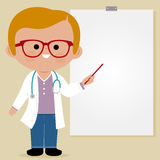 Doctor making a presentation using a white board Royalty Free Stock Images