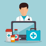 Doctor male aid medicine computer. Vector illustration eps 10 Royalty Free Stock Photos