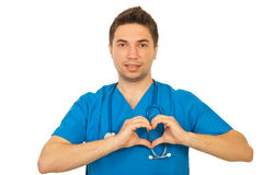 Doctor male with heart shape Royalty Free Stock Photography