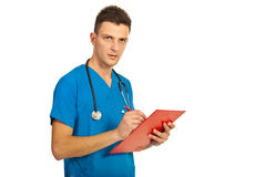 Doctor male writing Stock Photos