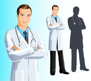 Doctor (Man). Illustration of a young and confidant doctor