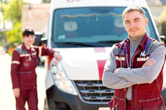 Doctor man with colleague paramedic Stock Images