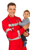 Doctor man holding baby Royalty Free Stock Photo