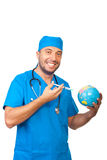 Doctor man immunize earth globe Stock Photos