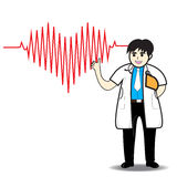 Doctor man red heart beats with cardiogra Royalty Free Stock Photography
