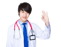 Doctor man showing with ok sign gesture Stock Photography
