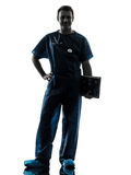 Doctor man silhouette full length Royalty Free Stock Photos