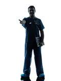 Doctor man silhouette standing full length gesturing handshake Stock Image