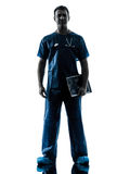 Doctor man silhouette standing full length Royalty Free Stock Images