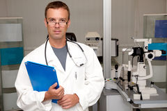 Doctor man with stethoscope and clipboard Stock Image