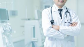 Doctor Man With Stethoscope In Hospital, Medical equipment concept. royalty free stock image