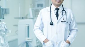 Doctor Man With Stethoscope In Hospital, Medical equipment concept. royalty free stock photo