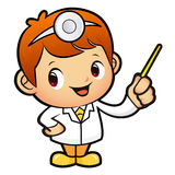 Doctor mascot the direction of pointing. Work and Job Character Royalty Free Stock Photos