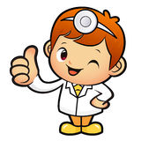 Doctor Mascot the hand best gesture. Work and Job Character Desi Royalty Free Stock Photography