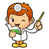 Doctor mascot the left hand guides and the right hand is holding Royalty Free Stock Images