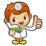 Doctor Mascot the right hand best gesture and left hand is holdi Royalty Free Stock Image