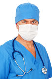 Doctor in mask and blue uniform Stock Image