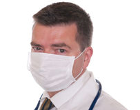 Doctor with mask isolated on white Royalty Free Stock Images
