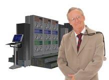 Doctor mayor y ordenador grande Foto de archivo