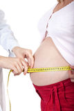 Doctor measures belly of the pregnant woman Royalty Free Stock Photos
