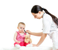 Doctor measuring temperature baby Royalty Free Stock Photo