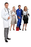 Doctor, mechanic, hairdresser and secretary. Stock Photos
