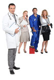 Doctor, mechanic, MD and secretary. Royalty Free Stock Photography