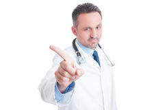 Doctor or medic saying no and making refuse gesture Royalty Free Stock Image