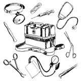 Doctor  medical accessories sketch icons set Royalty Free Stock Photos